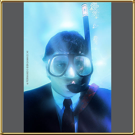 executive dressed underwater